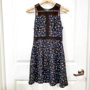 Like Mynded Blue Black Floral Sheer Panel Dress